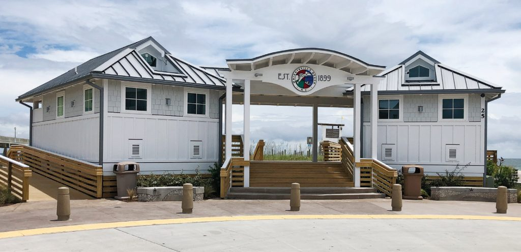 The new Blair Pavilion, designed by Bowman Murray Hemingway Architects, offers upgraded restroom and shower facilities to visitors at the East Salisbury Street beach access in Wrightsville Beach. | Allison Potter