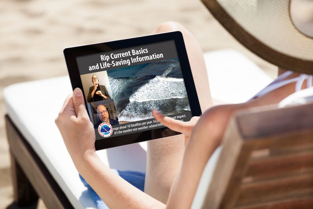 The N.C. Division of Services for the Deaf and Hard of Hearing provided an American Sign Language interpreter and captioning for a Rip Current Basics webinar presented by the National Weather Service Wilmington N.C.