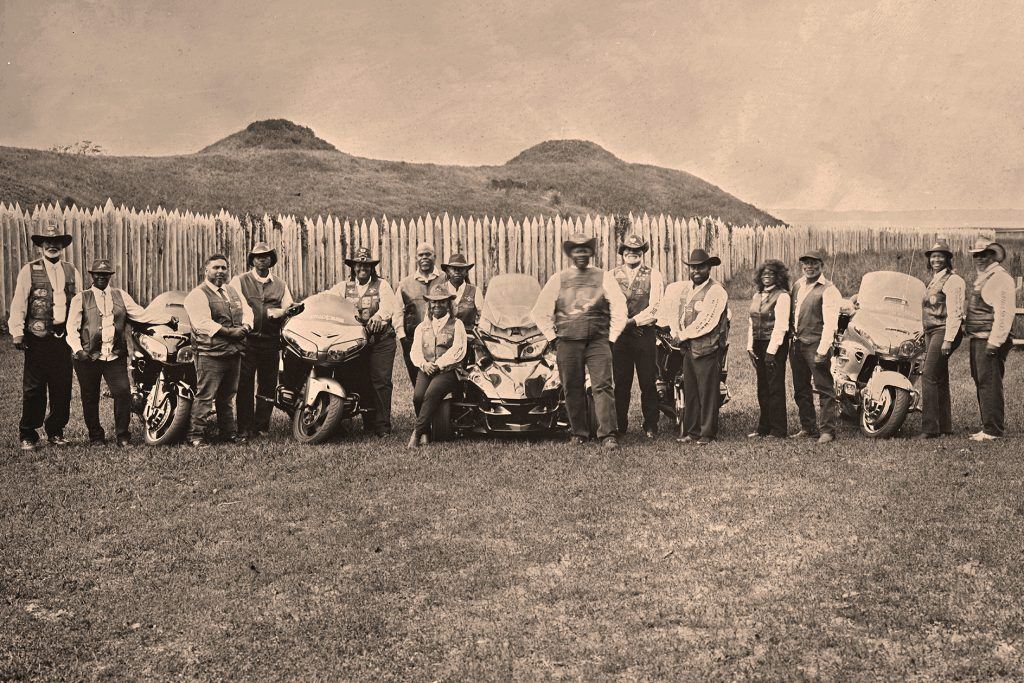 Members of the Wilmington Buffalo Soldiers Motorcycle Club gather at Fort Fisher in early October. Photo by Harry Taylor