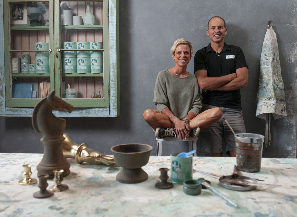 Jaime and Carol Hunter of Wilmington invented Saltwash paint additive to create a weathered look on any surface. Photo by Allison Potter.