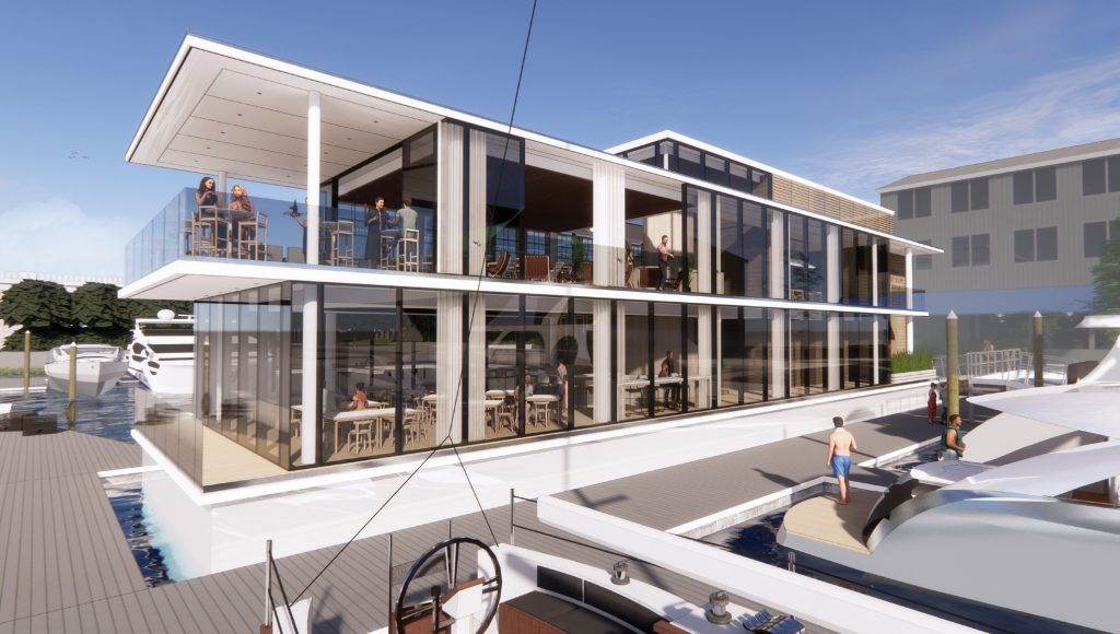 Wrightsville Yacht Club's new restaurant will float on the Intracoastal Waterway, between the docks at Wells Marine Insurance and Riggs Yacht Sales. Rendering by Kersting Architecture