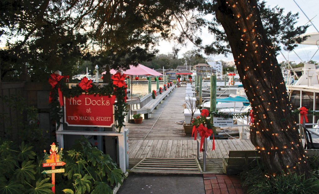 The Docks at 2 Marina Street was named best overall in the business category of the Wrightsville Beach Holiday Lighting Contest for several consecutive years. WBM file photo.