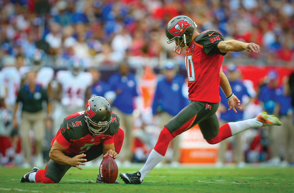 Connor Barth kicks a field goal for the Tampa Bay Buccaneers during a game against the New York Giants in 2015. Senior Airman Ned T. Johnston/U.S. Air Force
