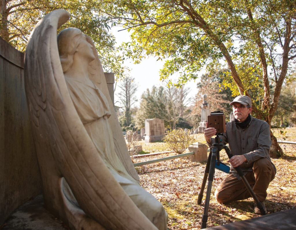 Wilmington photographer Curtis Krueger explores Oakdale Cemetery with his pinhole camera in January. Allison Potter.