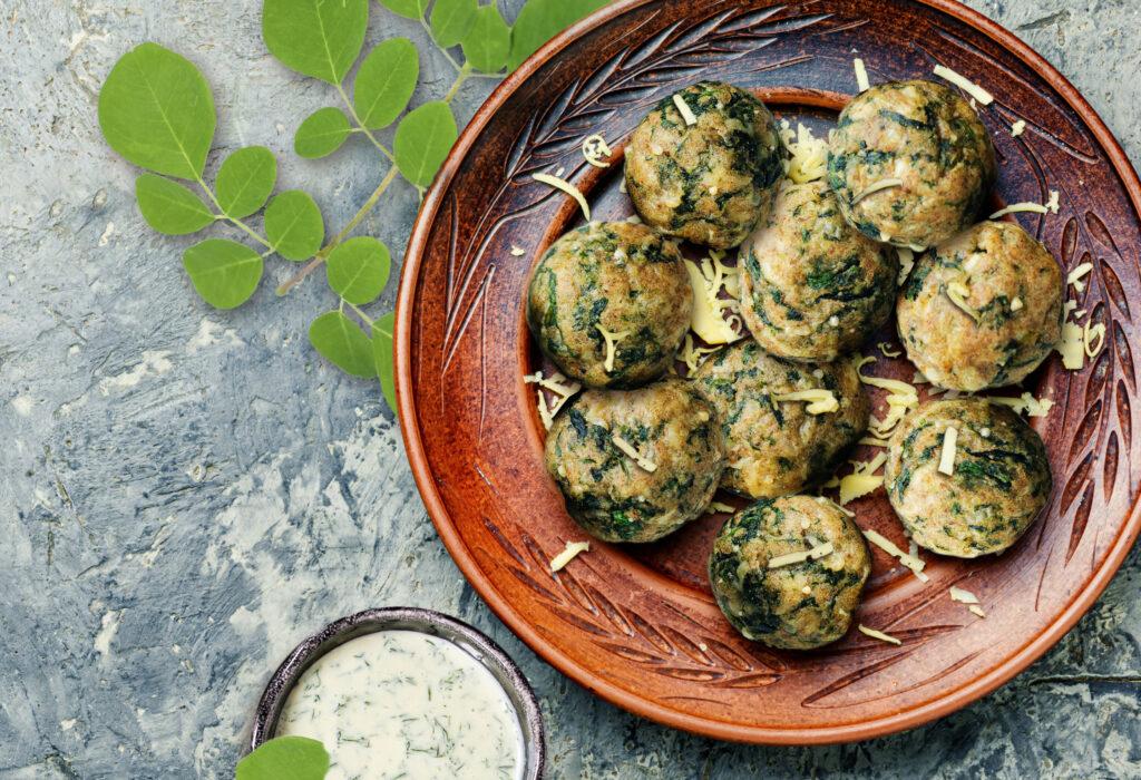 Baked Moringa Leaf and Feta Balls