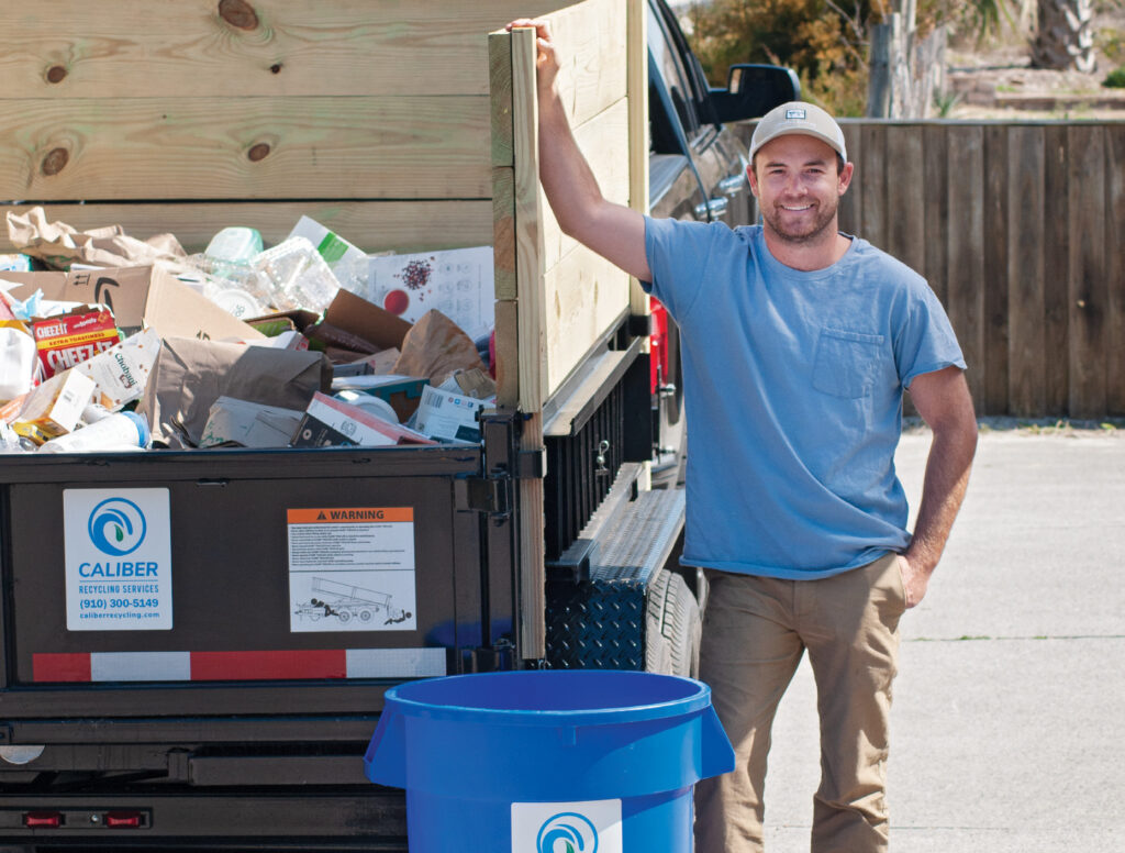 Miller Diggs offers curbside pickup of recyclables through his new business, Caliber Recycling. Photo by Allison Potter
