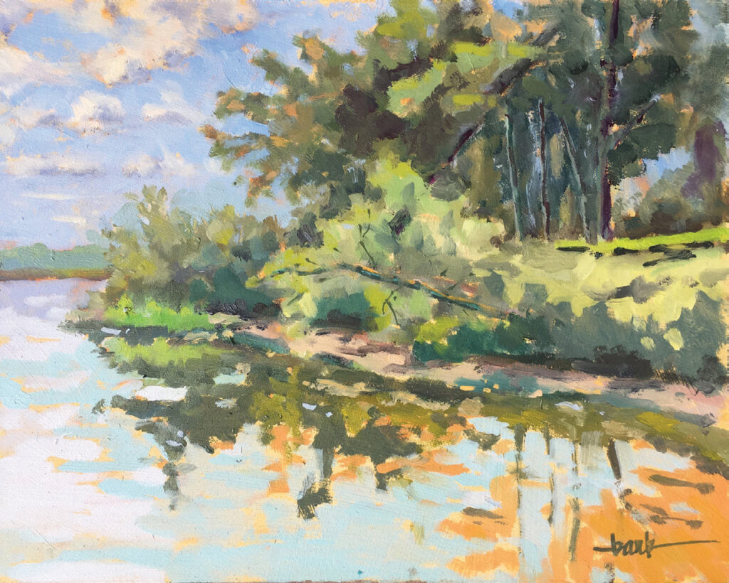 Sue Bark and other local artists will participate in a plein air paint-out leading up to a sale of the finished work on Mother's Day in Harbor Way Gardens. Above is Bark's oil painting, Reflections on the Cape Fear. Photo by Sue Bark