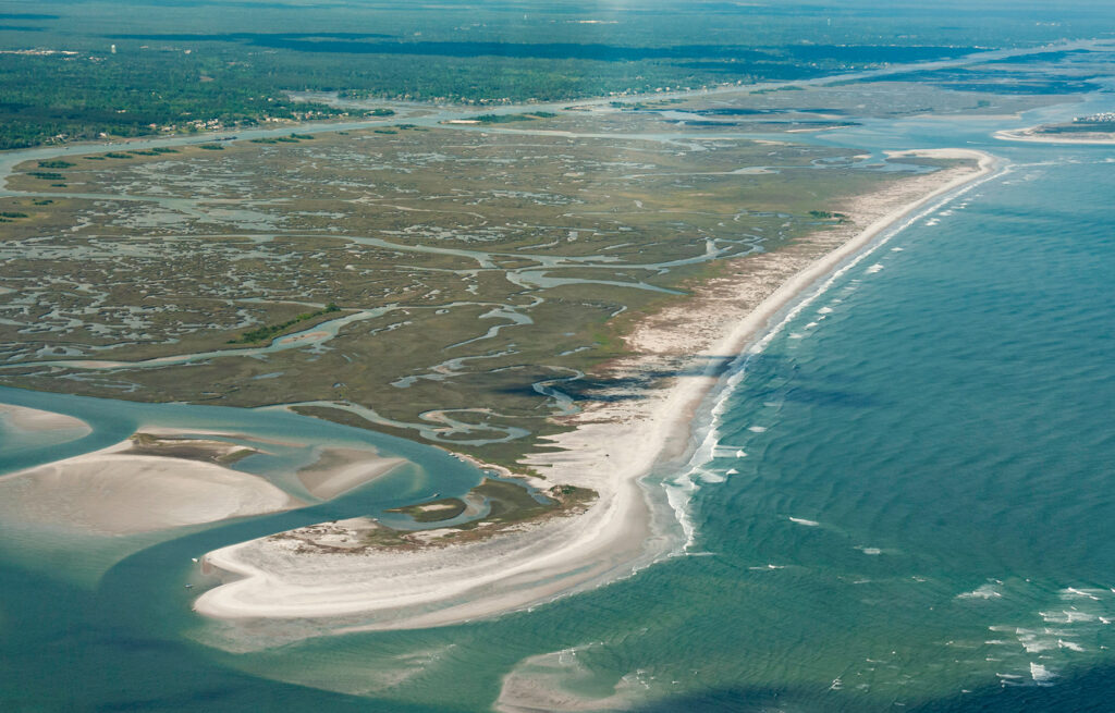 Hutaff Island and the species that inhabit it are protected in perpetuity from development due to a recent purchase by the North Carolina Coastal Land Trust. Courtesy of NC Coastal Land Trust