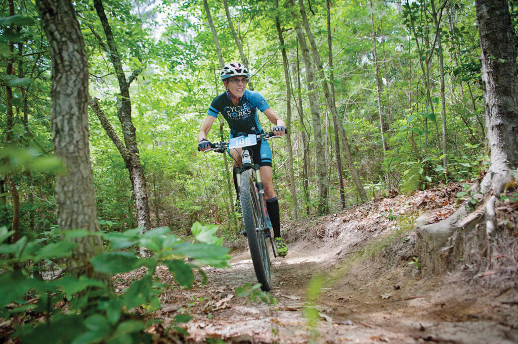 Phelicia Marion competes in the 2017 Coastal Carolina Off-Road Series event at Brunswick Nature Park. The CCORS was on hiatus due to the pandemic but will return October 9 with a race at the new Big Branch Bike Park in Jacksonville. Photo by John Urban