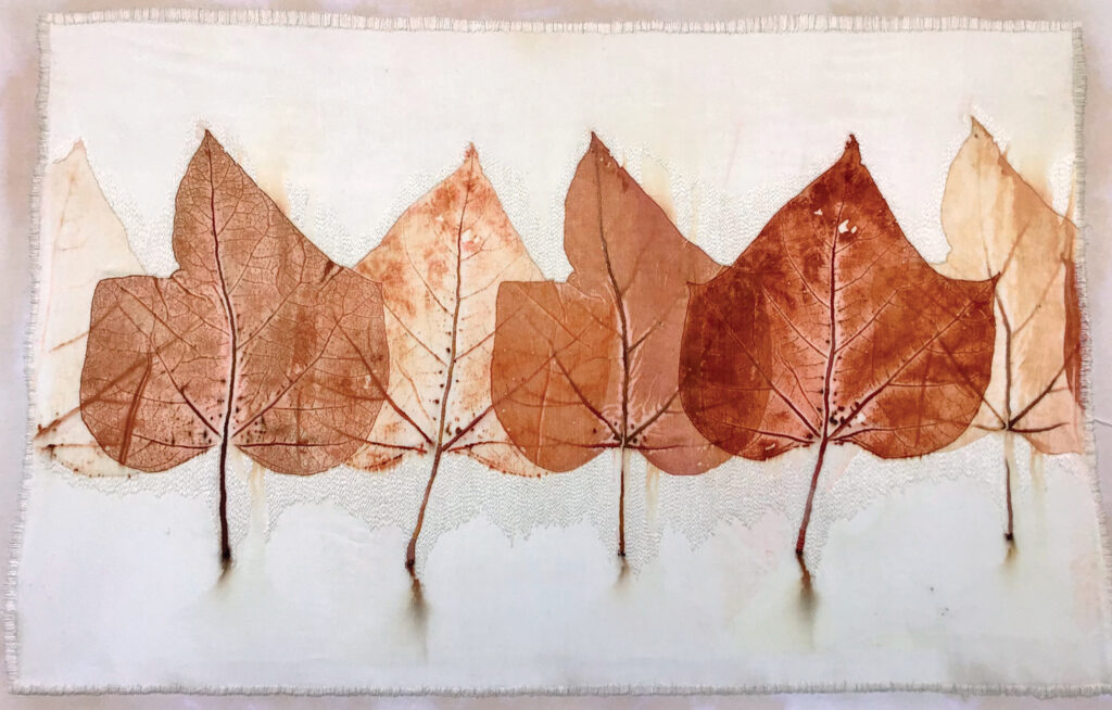 Catalpa Jam, 28.5 x 41.5 inches, catalpa infused with madder root printed on silk/wool fabric and stitched with silk thread.